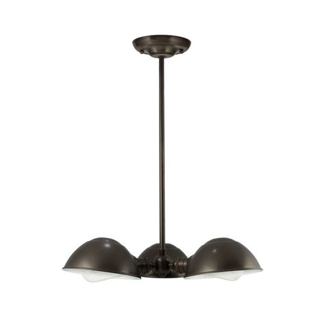 "Parabolic 3-Light Chandelier, 600-Bronze Finish, 18"" Stem in 600-Bronze Finish, 40w 1890 Era Edison Bulbs"