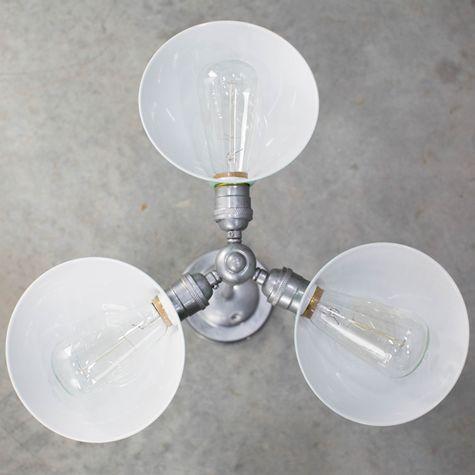 Parabolic 3-Light Chandelier, From Below, 40w 1890 Era Edison Bulbs