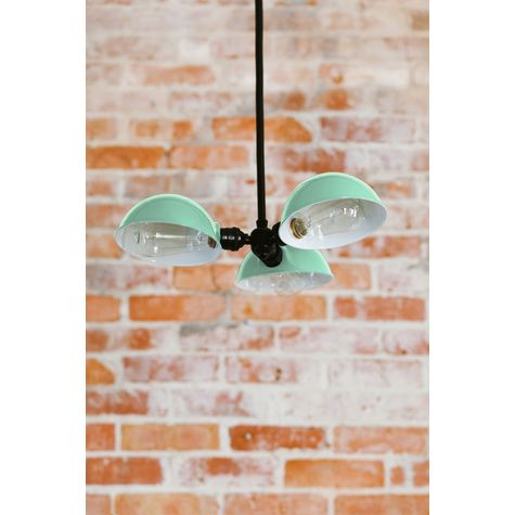 Parabolic 3-Light Chandelier, 355-Jadite, Mounting in 100-Black, 40w 1890 Era Edison Bulbs