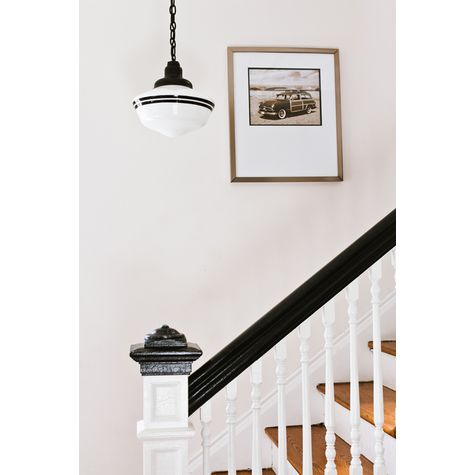 Schoolhouse Chain Hung Pendant, Large Glass, Double Stripes in 100-Black, Black Chain with Standard Black Cord