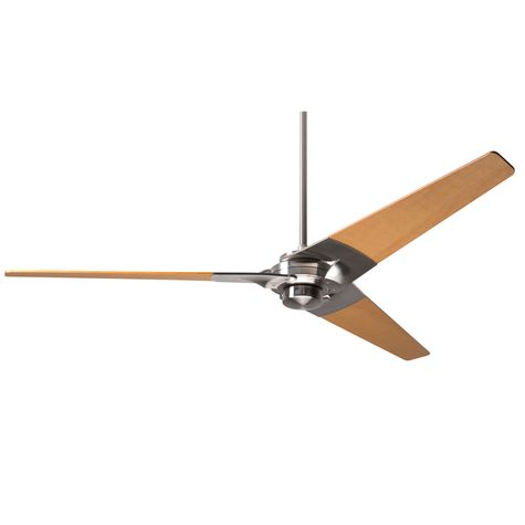 Torsion Ceiling Fan, Bright Nickel, Maple Blades