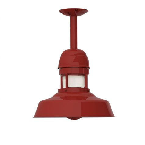 """12"""" Sydney, 400-Barn Red, With Cap, CCR-Clear Crackle Glass, 6"""" Stem"""