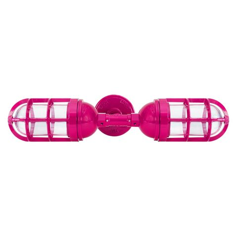 Atomic Topless Double Industrial Guard Sconce, 490-Magenta | TGG-Heavy Duty Cast Guard, CLR-Clear Glass