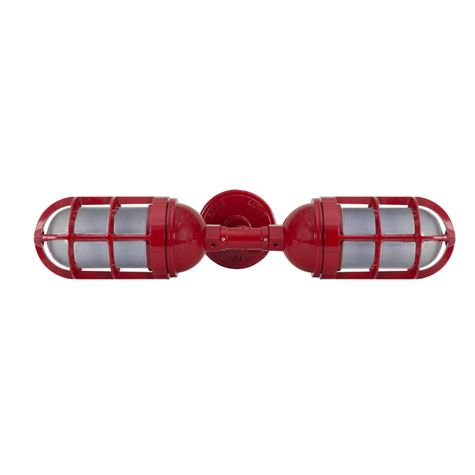 Atomic Topless Double Industrial Guard Sconce, 400-Barn Red   TGG-Heavy Duty Cast Guard, SMK-Smoke Crackle Glass