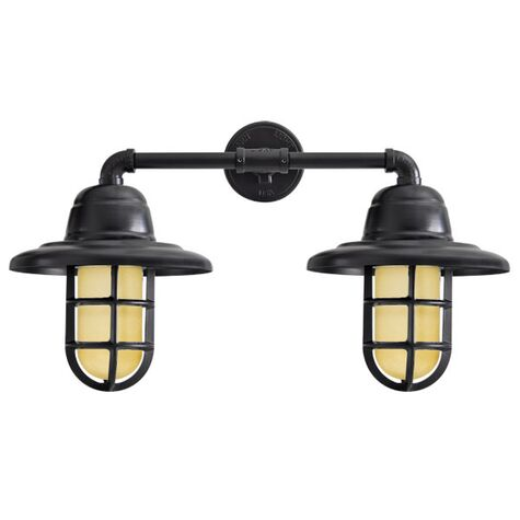 Double Market LED Industrial Guard Sconce, 100-Black, Warehouse Shade, TGG-Heavy Duty Cast Guard, HCR-Honey Crackle Glass