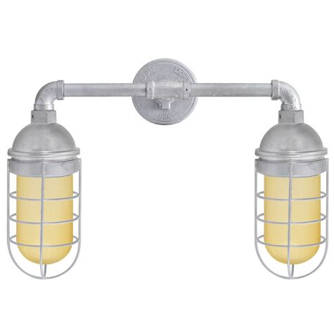 Double Market LED Industrial Guard Sconce, 975-Galvanized, No Shade, WGG-Wire Guard, HCR-Honey Crackle Glass