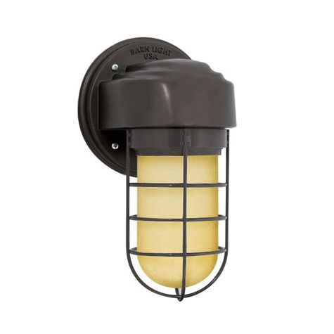 Streamline LED Industrial Guard Sconce, 600-Bronze, No Shade, WGG-Wire Guard, HCR-Honey Crackle Glass