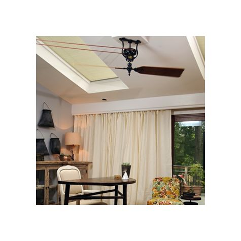 Customer Submission: HGTV's Dear Genevieve – Brewmaster Belt Driven Ceiling Fan, Black, Short Neck, 120 V Motor, Reversible Oak/Walnut Blades