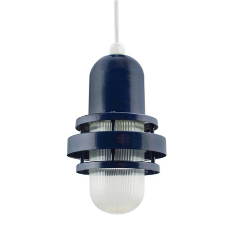 The Brewster Pendant, 705-Navy, RIB-Ribbed Glass, SWH-Standard White Cord