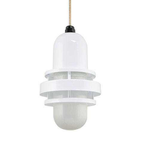 The Brewster Pendant, 200-White, RIB-Ribbed Glass, CSGW-Gold & White Cloth Cord