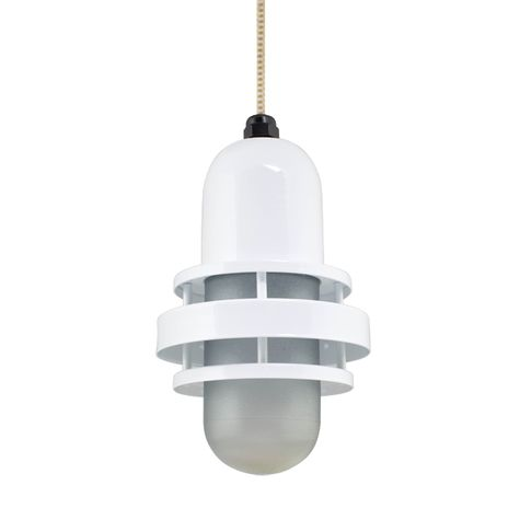 The Brewster Pendant, 200-White, SMK-Smoke Crackle Glass, CSGW-Gold & White Cloth Cord