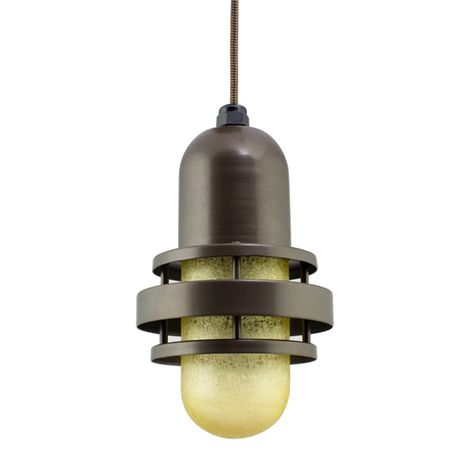 The Brewster Pendant, 600-Bronze, HCR-Honey Crackle Glass, CSBB-Black & Brown Cloth Cord