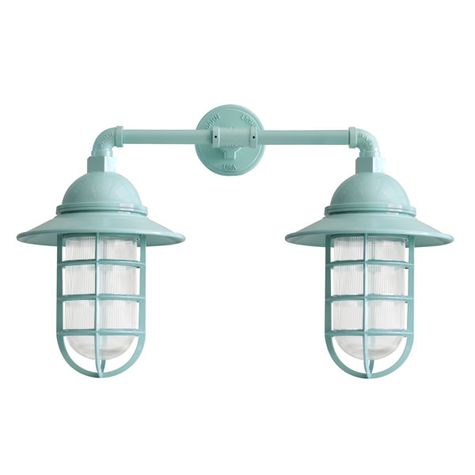 Double Market Industrial Guard Sconce, 311-Jadite | CGG-Standard Cast Guard, RIB-Ribbed Glass