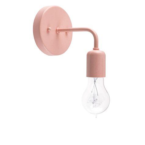 Downtown Minimalist Sconce, 480-Blush Pink, Victorian 25w Edison-Style Bulb