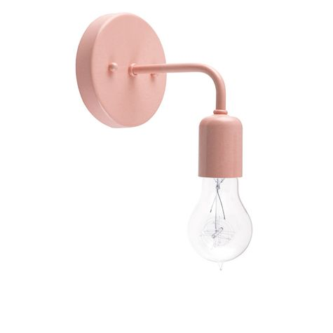 Downtown Minimalist Sconce, 480-Blush Pink, Victorian 25w Edison-Style Bulb