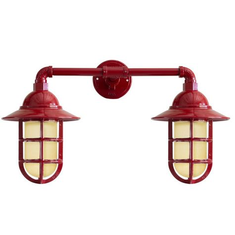 Double Market LED Industrial Guard Sconce, 400-Barn Red, Flared Shade, TGG-Heavy Duty Cast Guard, HCR-Honey Crackle Glass