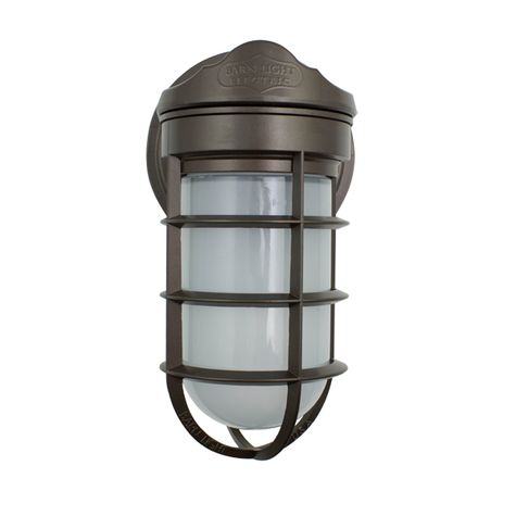 Industrial Static Sconce, 600-Bronze, No Shade, CGG-Standard Cast Guard, FST-Frosted Glass