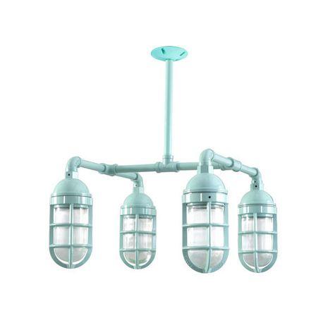 The Foundry LED 4-Light Chandelier, 311-Jadite PTMP, No Shade, TGG-Heavy Duty Cast Guard, RIB-Ribbed Glass