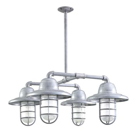 The Foundry LED 4-Light Chandelier, 975-Galvanized, Warehouse Shade, CGG-Standard Cast Guard, RIB-Ribbed Glass