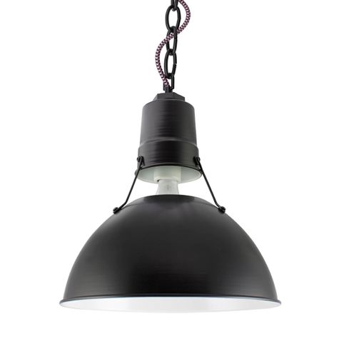 """12"""" Wesco Uplight, 100-Black, Black Chain with Black & Pink Cloth Cord"""