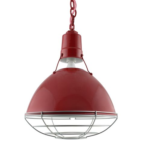 """14"""" Wesco Uplight, 400-Barn Red, Wire Cage, 975-Galvanized, Red Chain with Red & White Cloth Cord"""