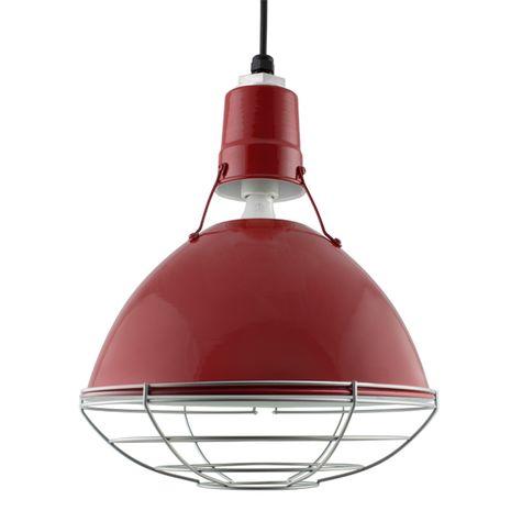"14"" Wesco Uplight, 400-Barn Red, Wire Cage, 975-Galvanized, SBK-Standard Black Cord"