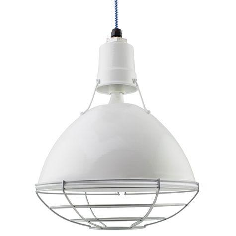 "14"" Wesco Uplight, 200-White, Wire Cage, 975-Galvanized, CSUW-Blue & White Cloth Cord"