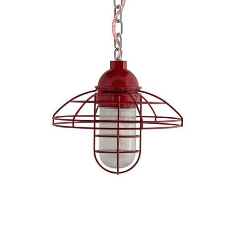 "12"" Blue Collar, 400-Barn Red, Chain in 975-Galvanized, CRZ-Red Chevron Cord, RIB-Ribbed Glass"