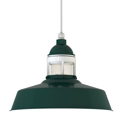 "16"" Sydney LED, 300-Dark Green with 200-White Guard, No Cap, FST-Frosted Glass, SWH-Standard White Cord"