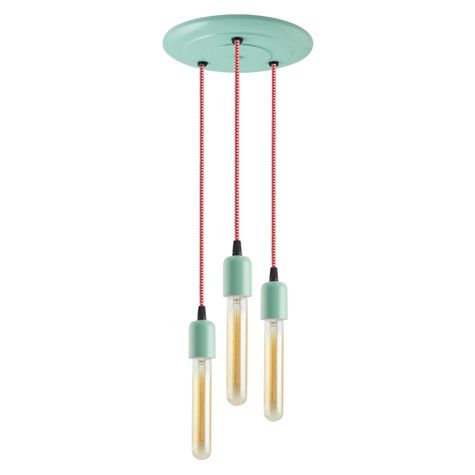 3-Light Downtown Minimalist Chandelier, 311-Jadite, CRZ-Red Chevron Cord, 30W Hairpin Edison Bulbs