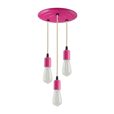 3-Light Downtown Minimalist Chandelier, 490-Magenta, CSGW-Gold & White Cloth Cord, 1890 Era 40W Edison Bulbs