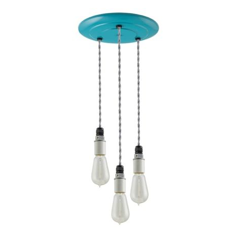 3-Light Indy Porcelain Socket Chandelier, Teal Canopy, TBW-Black & White Cotton Twist Cord, 1890 Era 40w Edison Bulbs