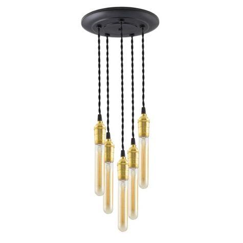 5-Light Raw Brass Chandelier, Canopy in 100-Black, TBK-Black Cotton Twist Cord, 30W Hairpin Edison Bulbs