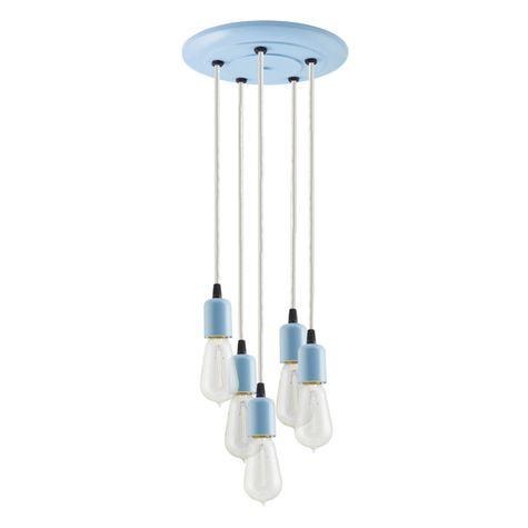 5-Light Downtown Minimalist Chandelier, 715-Delphite, CSW-White Cloth Cord, 1890 Era 40W Edison Bulbs