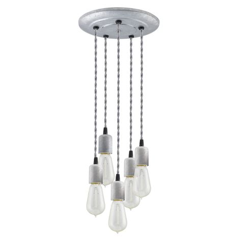 5-Light Downtown Minimalist Chandelier, 975-Galvanized, TBW-Black & White Cotton Twist Cord, 1890 Era 40W Edison Bulbs
