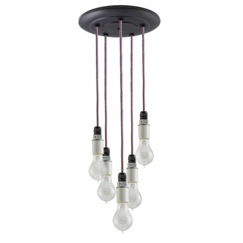 5-Light Indy Porcelain Socket Chandelier, Black Canopy, CSBP-Black & Pink Cloth Cord, Victorian 40w Edison Bulbs