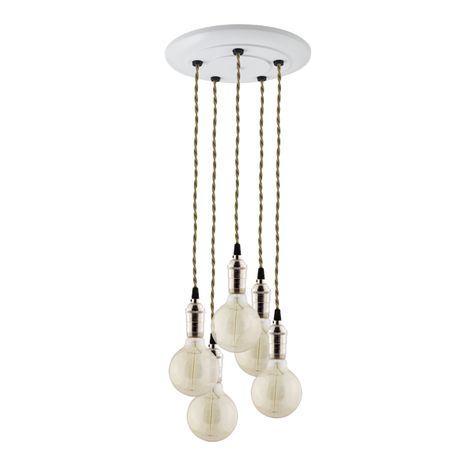 5-Light Indy Industrial Chandelier, Nickel Sockets, White Canopy, TPT-Putty Cotton Twist Cord,  40W G30 Edison Bulbs