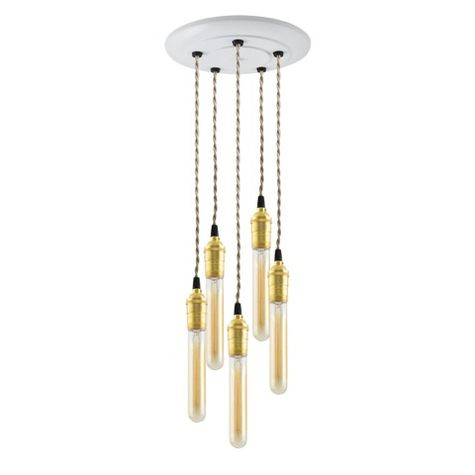 5-Light Raw Brass Chandelier, Canopy in 200-White, TPT-Putty Cotton Twist Cord, 30W Hairpin Edison Bulbs