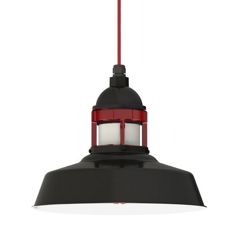 "14"" Sydney Cord Hung Pendant, 100-Black Finish, CSR-Red Cloth Cord, No Cap, 400-Barn Red Guard Finish, FST-Frosted Glass"