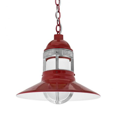 """12"""" Wallaby Industrial LED Chain Hung, 400-Barn Red, Guard in 975-Galvanized, CMG-Grey Cloth Cord"""