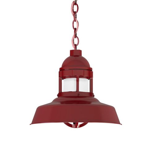 "12"" Sydney Industrial LED Chain Hung, 400-Barn Red, CRZ-Red Chevron Cord, FST-Frosted Glass"