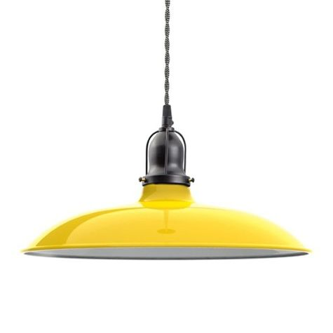 "14"" Benjamin Industrial Pendant, 500-Buttery Yellow, Cup in 100-Black, With Arms, TBW-Black & White Cotton Twist Cord"