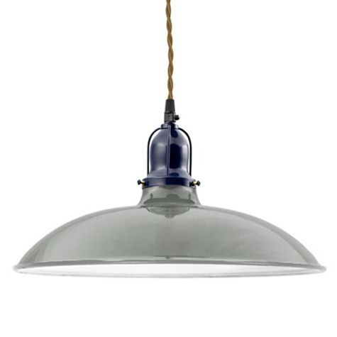 "14"" Benjamin Industrial Pendant, 800-Industrial Grey, Cup in 705-Navy, With Arms, TPT-Putty Cotton Twist Cord"