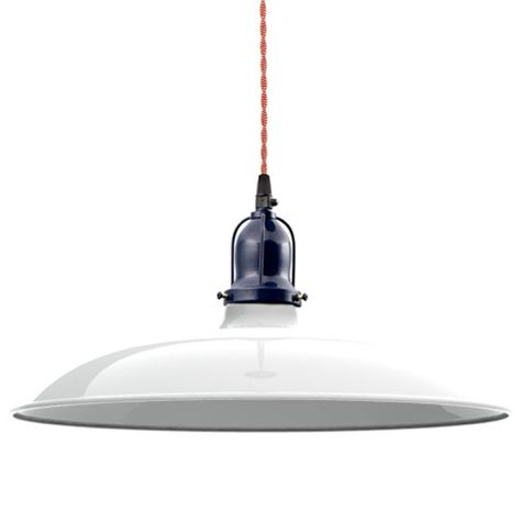 "14"" Benjamin Industrial Pendant, 200-White, Cup in 705-Navy, With Arms, TRW-Red & White Cotton Twist Cord"
