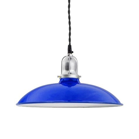 "12"" Benjamin Industrial Pendant, 700-Royal Blue, Cup in 700-Royal Blue, With Arms, TBK-Black Cotton Twist Cord"