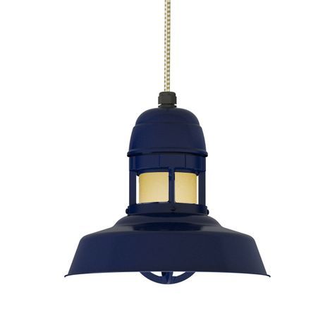 "12"" Sydney LED, 705-Navy, With Cap, HCR-Honey Crackle Glass, CSGW-Gold & White Cloth Cord"