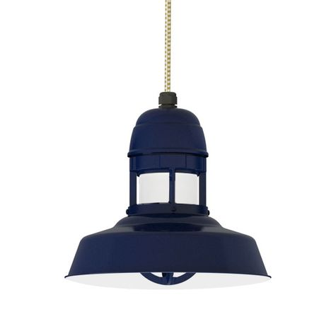 "12"" Sydney Cord Hung Pendant, 705-Navy Finish, CSGW-Gold & White Cloth Cord, With Cap, 705-Navy Guard Finish, HCR-Honey Crackle Glass"