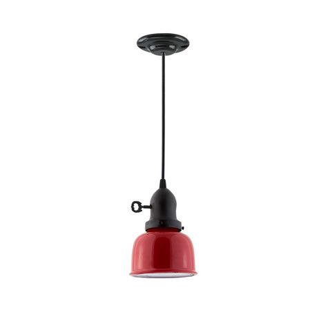 The Kao Fargo Pendant, Shade in 400-Barn Red, Cup in 105-Textured Black, Turn Key, SBK-Standard Black Cord, Canopy in 100-Black