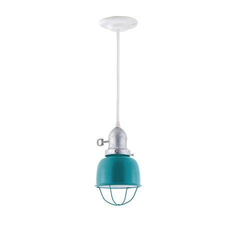 The Kao Fargo Pendant, Shade in 390-Teal, Wire Cage, Cup in 975-Galvanized, Turn Key, SWH-Standard White Cord, Canopy in 200-White