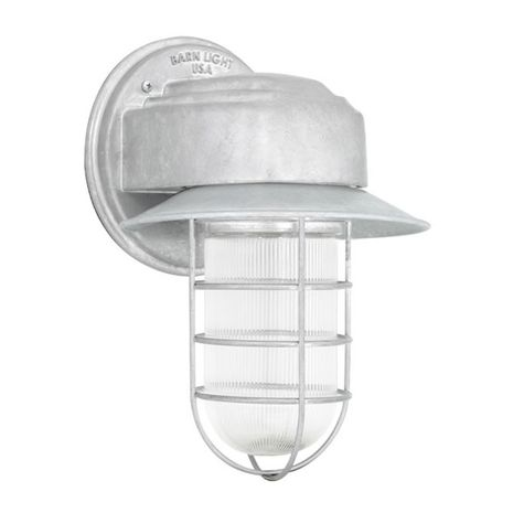 Streamline LED Industrial Guard Sconce, 975-Galvanized, Flared Shade, WGG-Wire Guard, RIB-Ribbed Glass